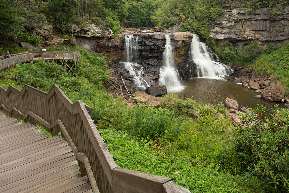 view of boardwalk and Blackwater Falls