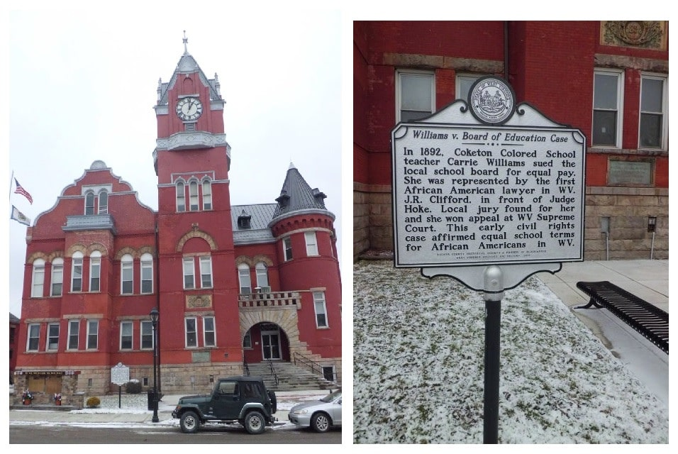 the courthouse in Parsons is pictured at left, and a historical marker about the court case Williams v. Board of Education is at right