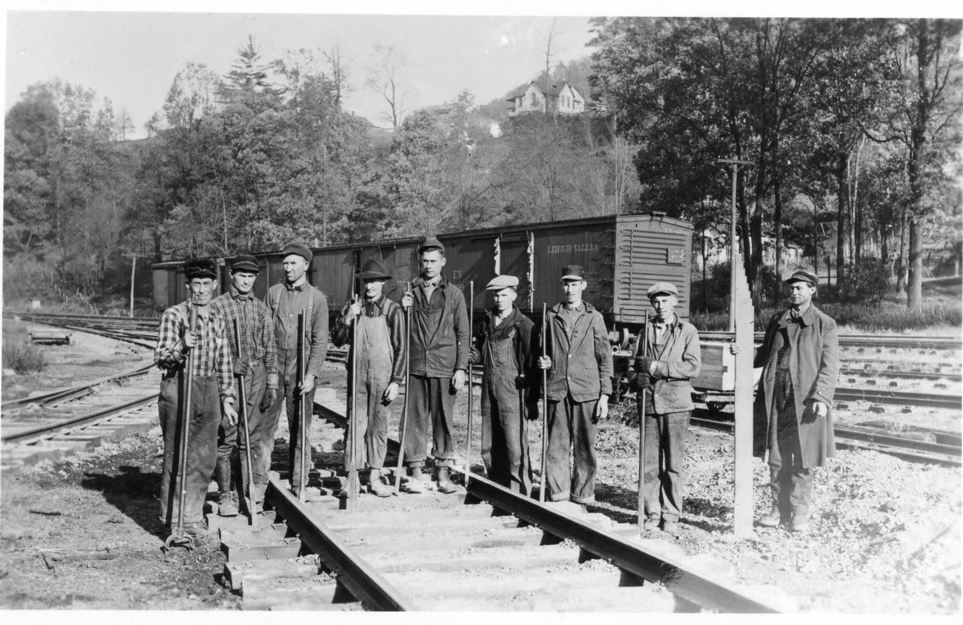 historic photo of railroad workers near Hendricks in 1923