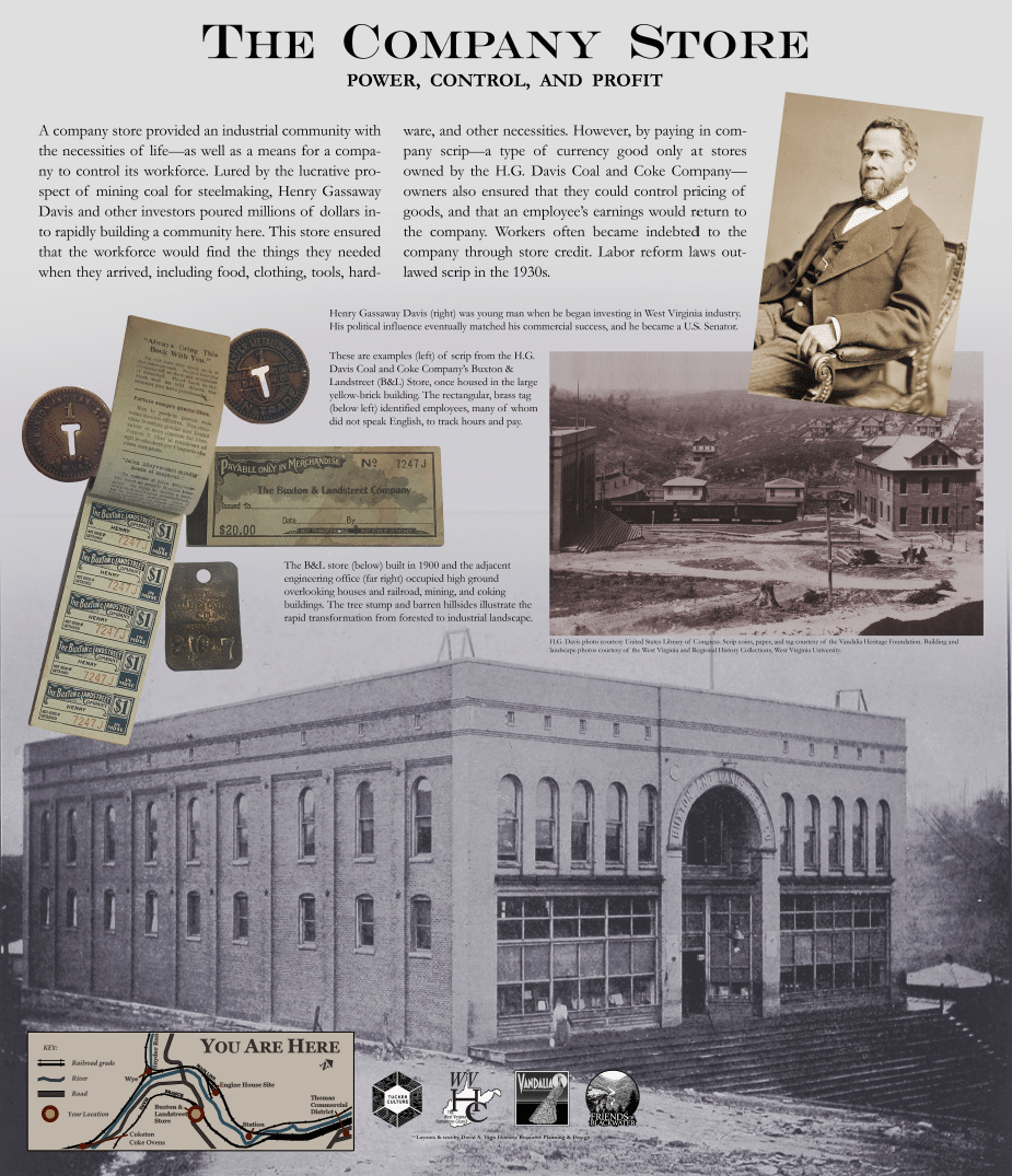 sign explaining the history of the Buxton and Landstreet company store