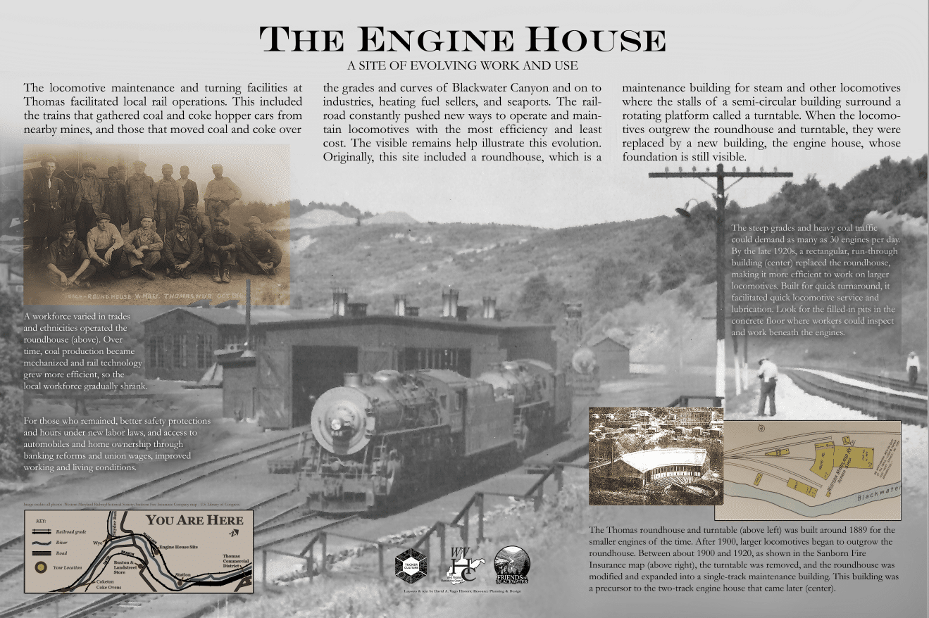 sign about the engine house, where trains were repaired, near Thomas