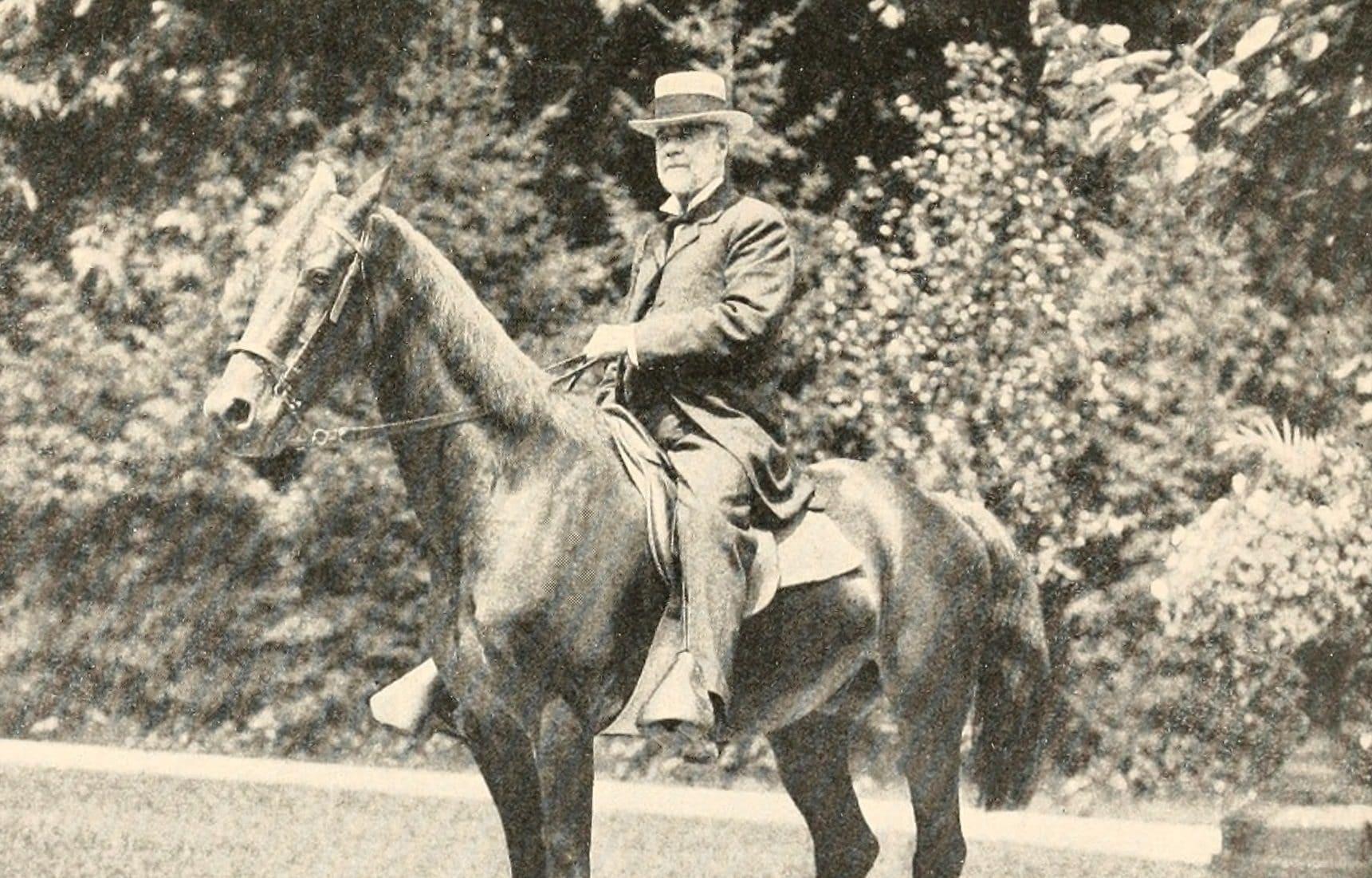 Henry Gassaway Davis on a horse