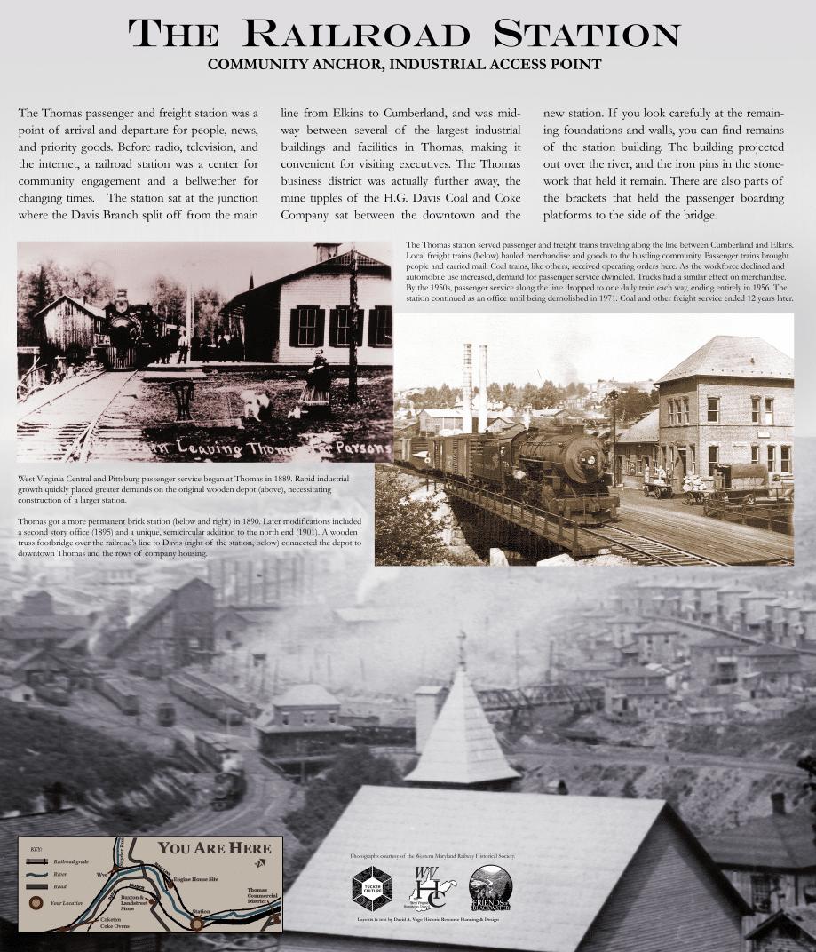sign explaining the history of the railroad station near Thomas