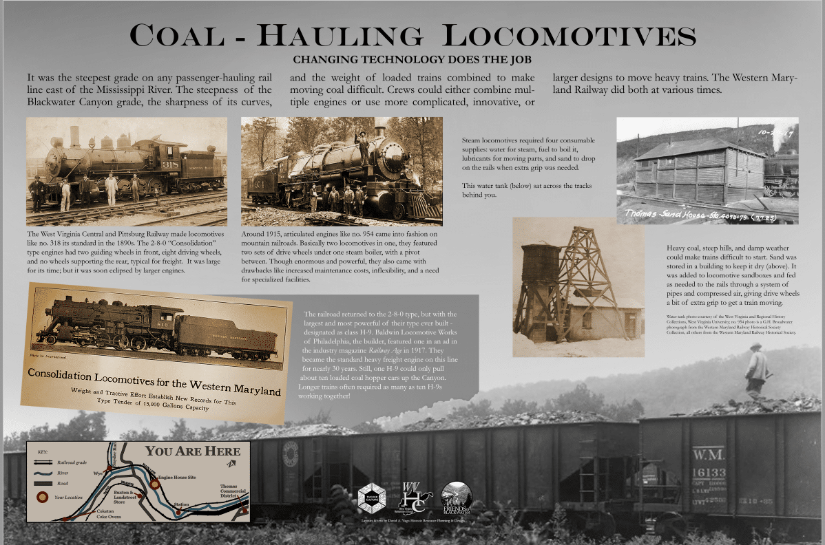 sign about the locomotives used on the railroads near Thomas