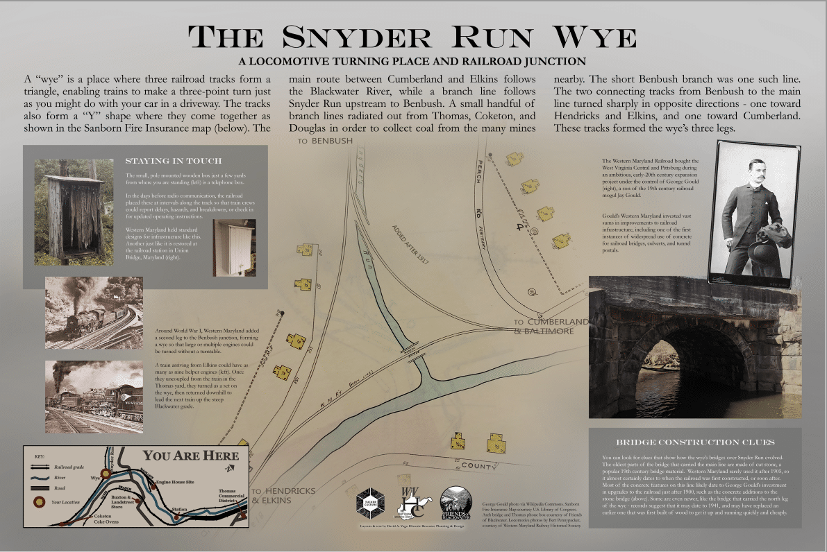 sign explaining the history of the Snyder Run wye