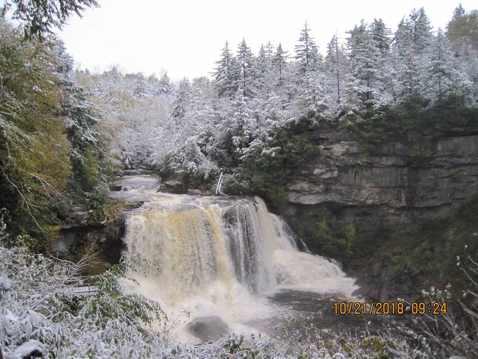 Blackwater falls with a little snow