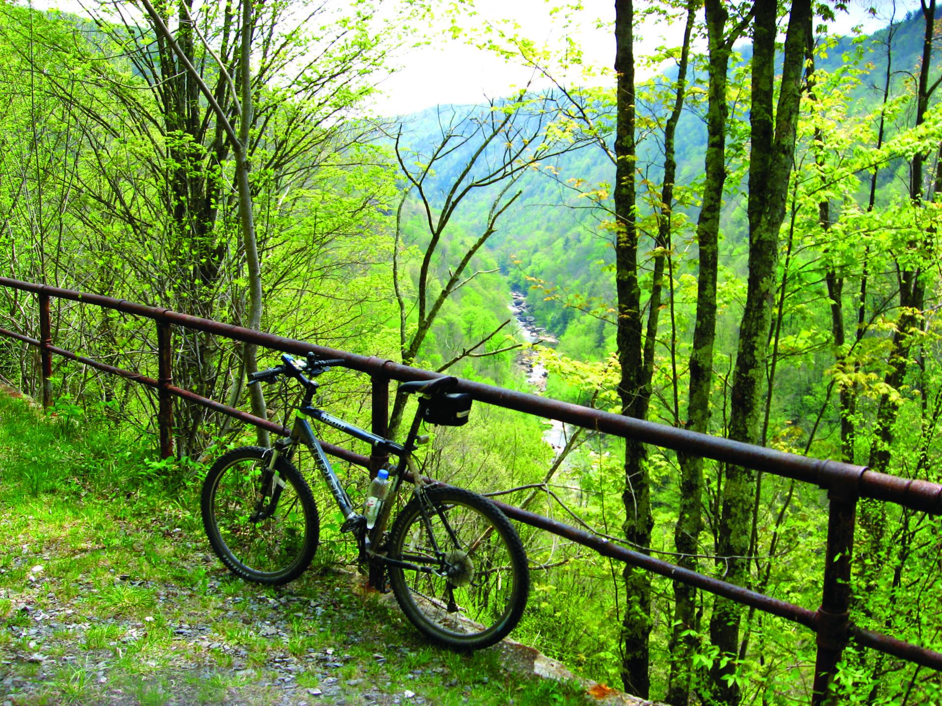 bike at overlook along the Blackwater Canyn rail trail