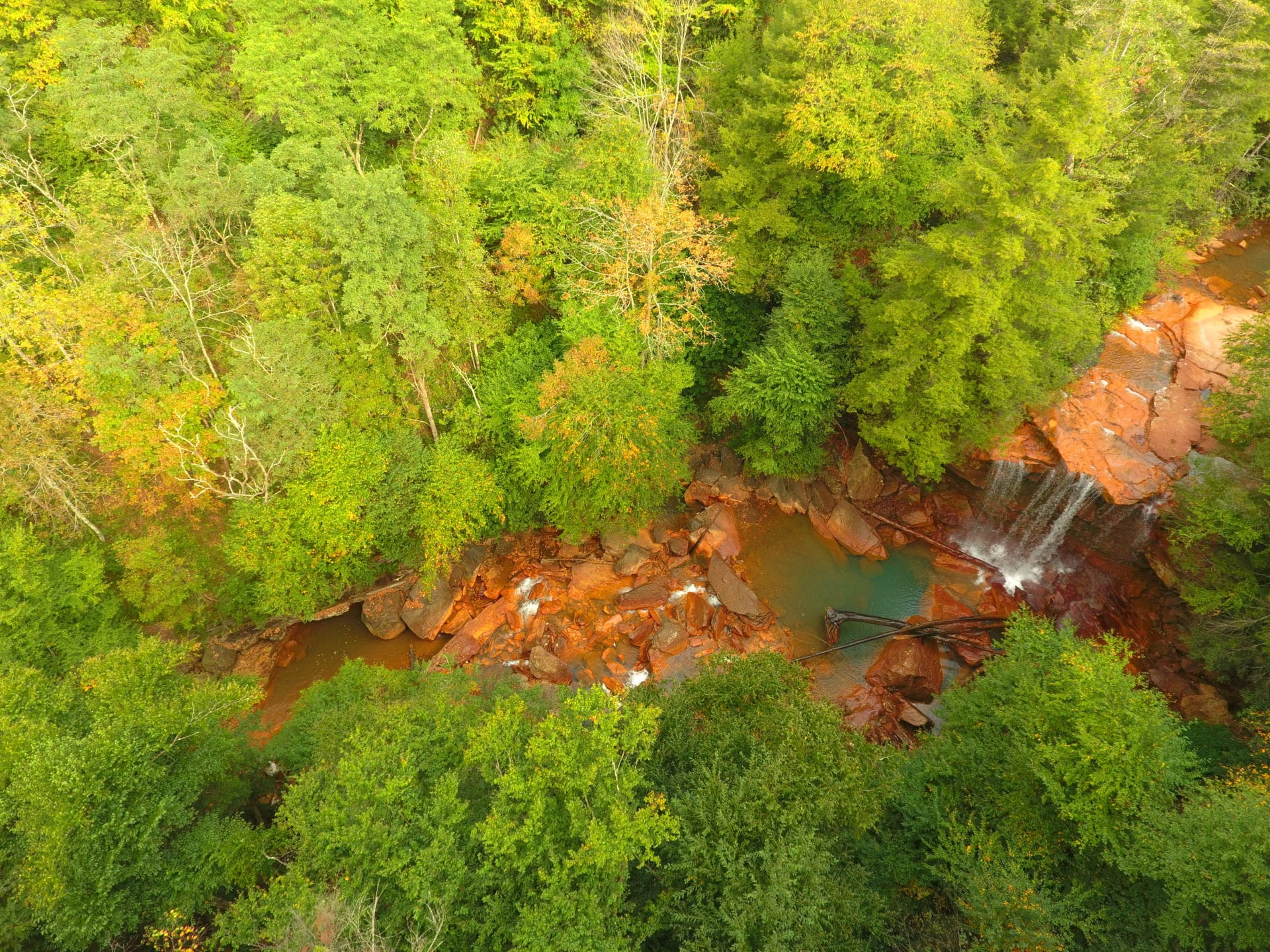 view of Douglas Falls from above