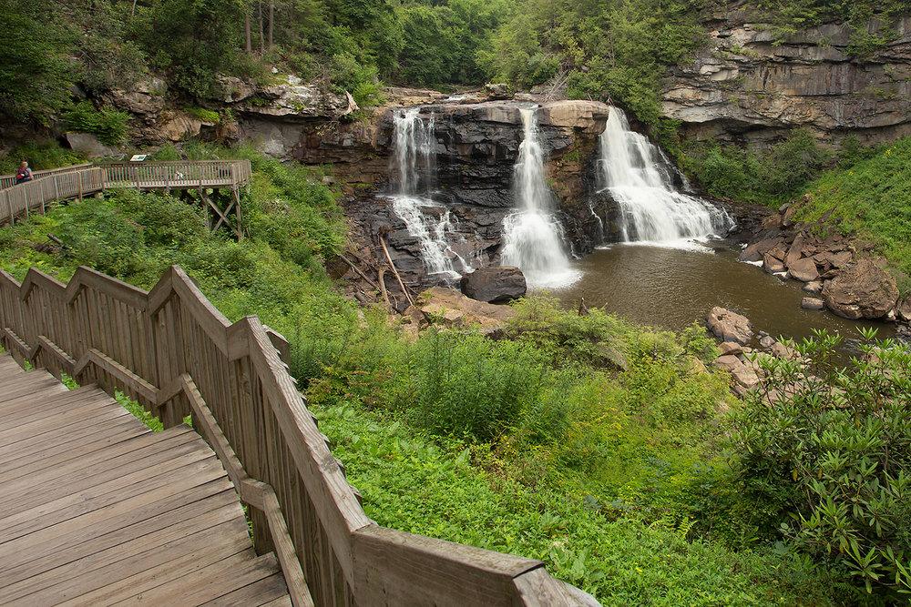 view of boardwalk and Blackwater Falls