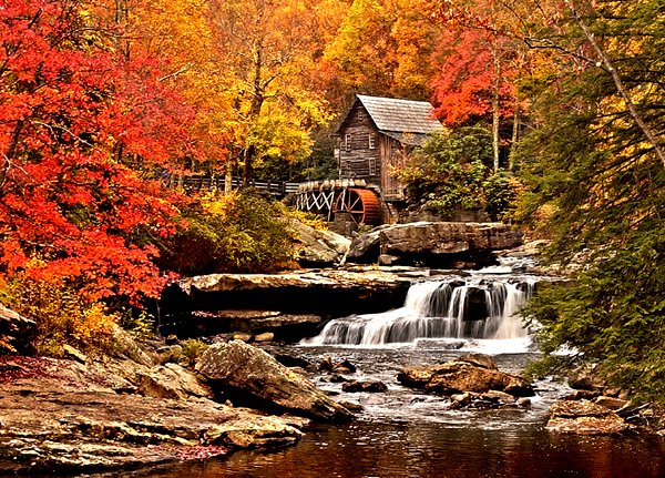 view of the gristmill at Babcock State Park in autumn
