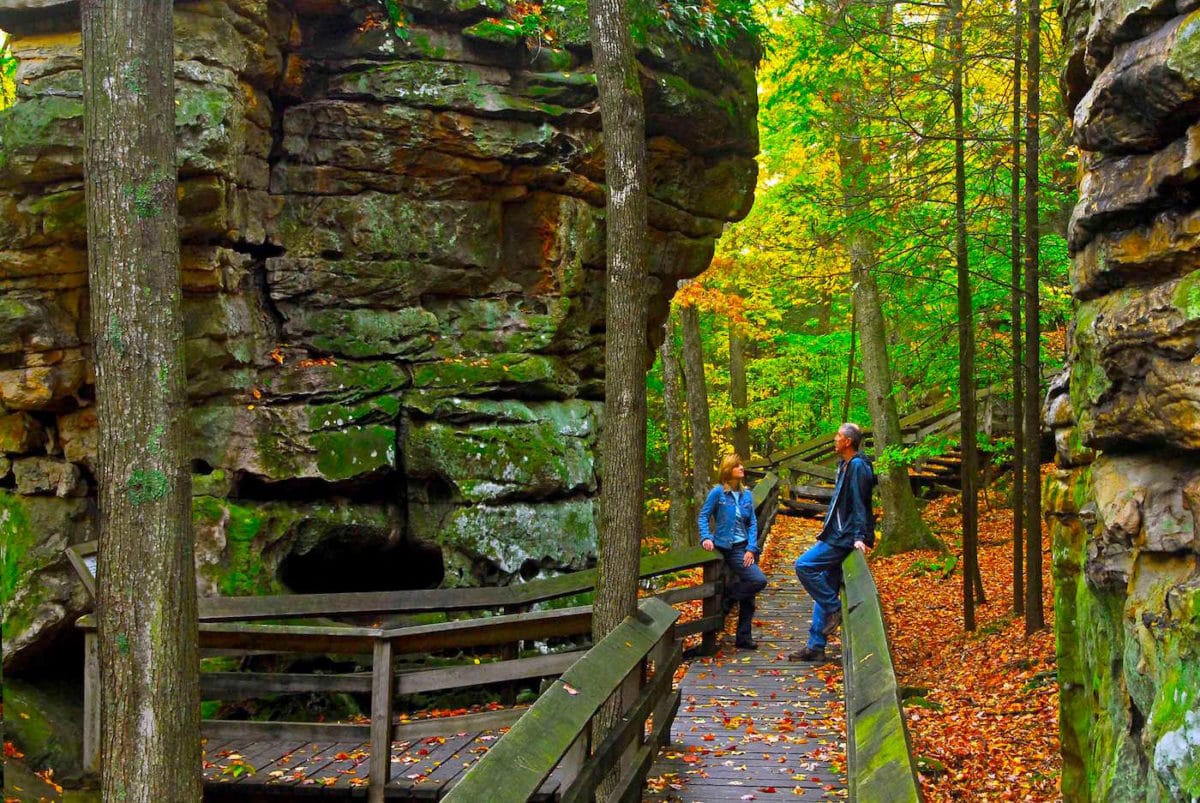 a walkway between large boulders in Beartown State Park
