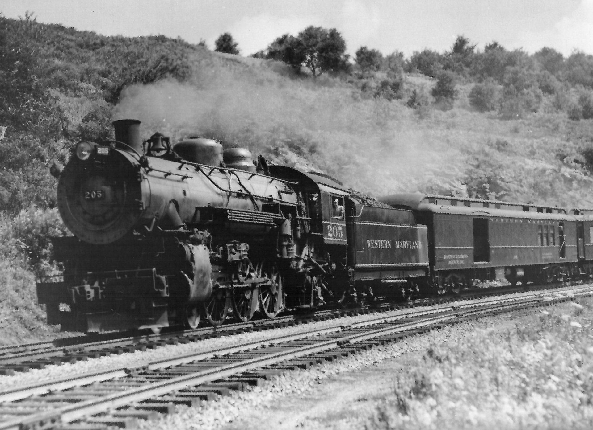 old fashioned train leaving Thomas, WV