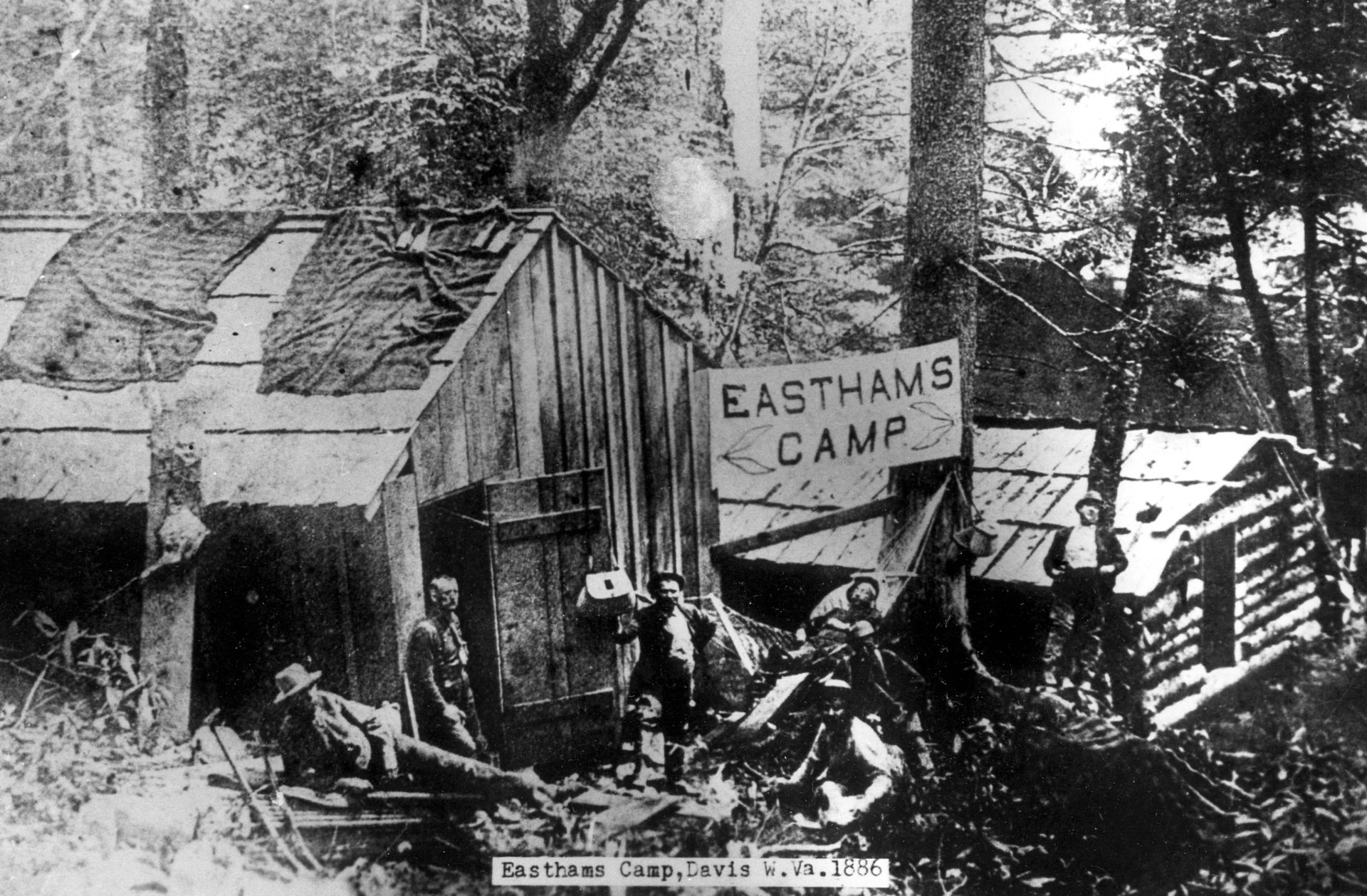 historic photo of a logging camp near Davis in 1886