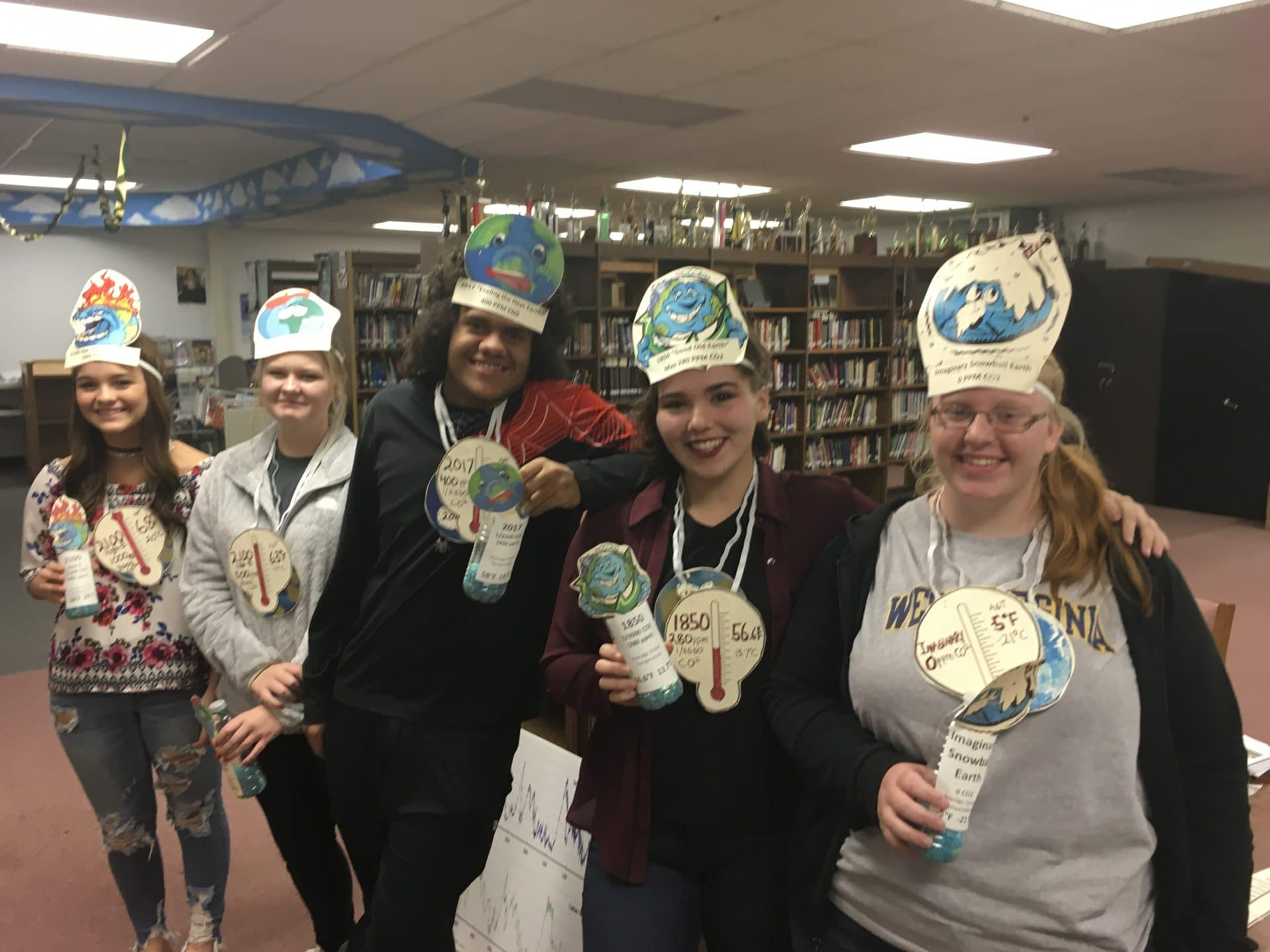 students participate in climate science education activities