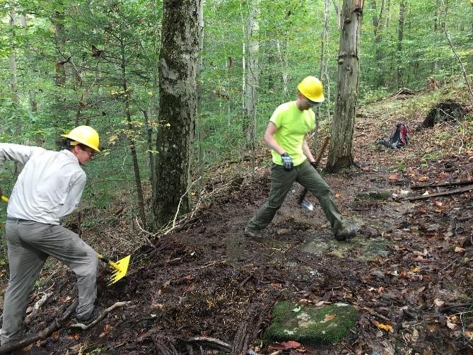 volunteers work on a trail
